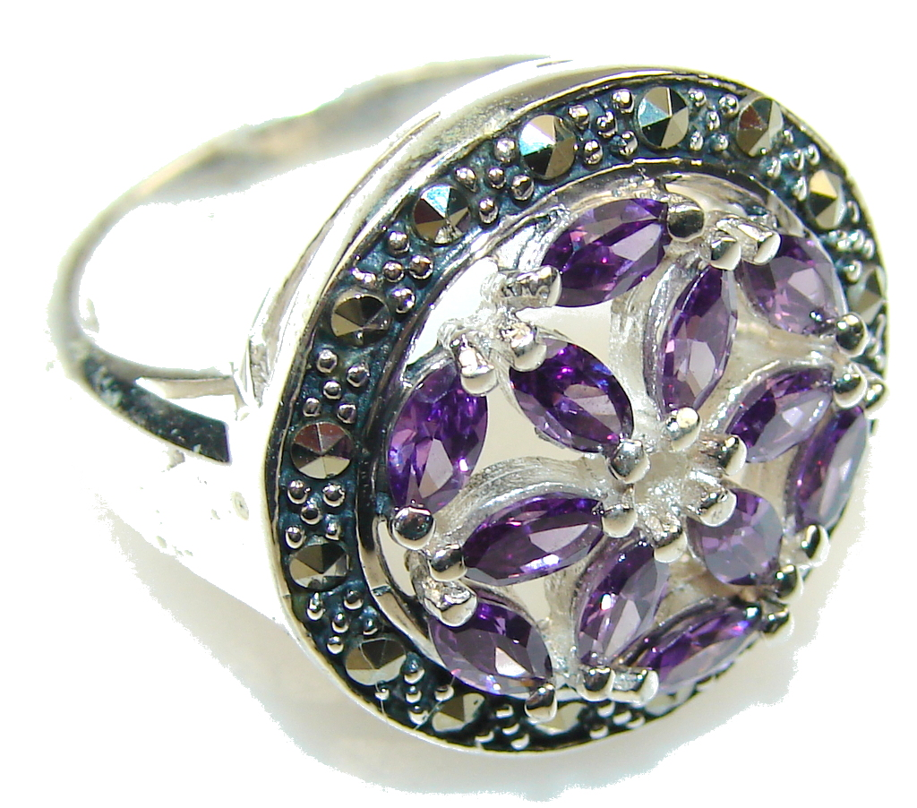 marcassite.com Awesome Purple Amethyst Sterling Silver ring; size 8 1/2