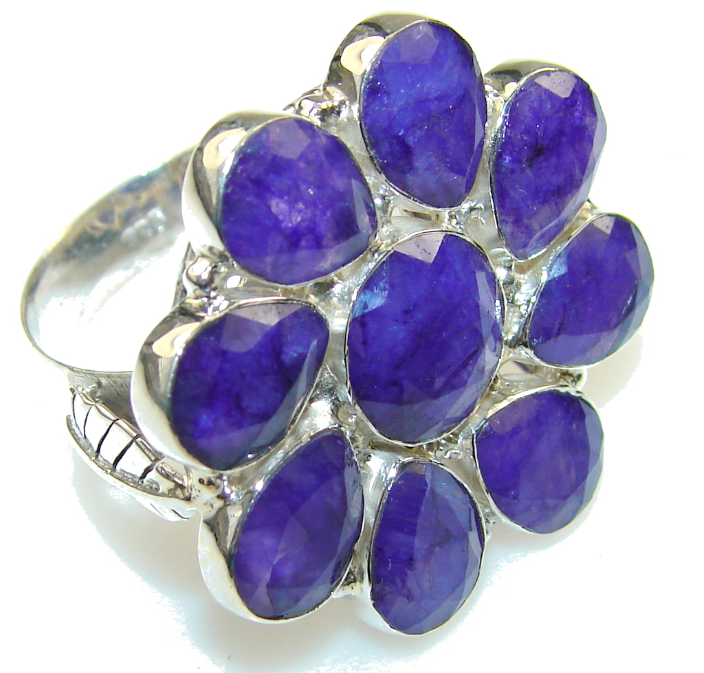 Excellent Blue Sapphire Sterling Silver Ring s. 10 1/2