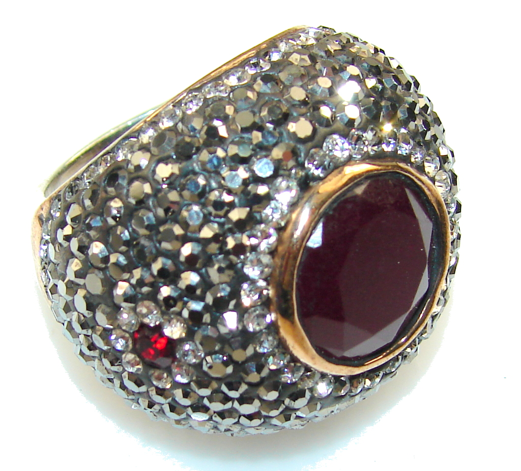 Awesome Design!! Red Ruby Sterling Silver ring s. 7 1/4