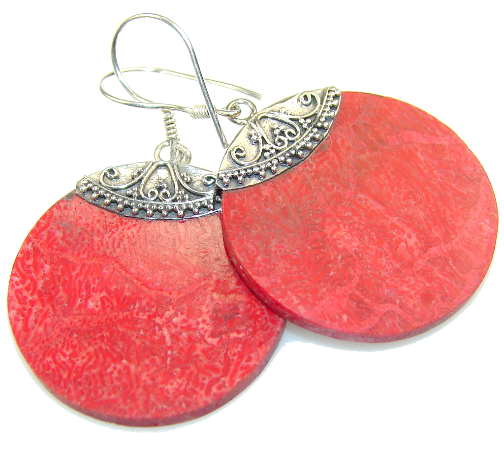 Image of Excellent Fossilized Coral Sterling Silver earrings