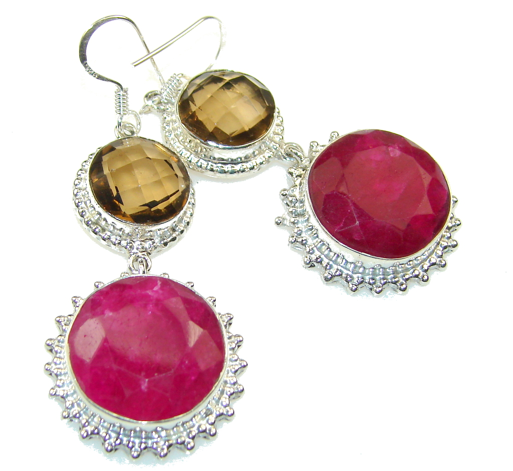 Double The Fun!! Pink Ruby Sterling Silver earrings