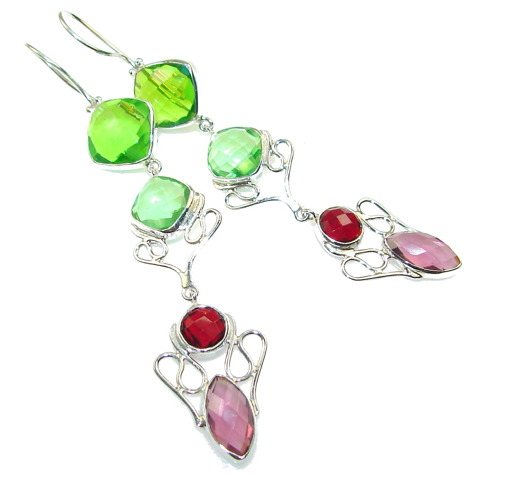Awesome Multicolor Quartz Sterling Silver Earrings / Very Long