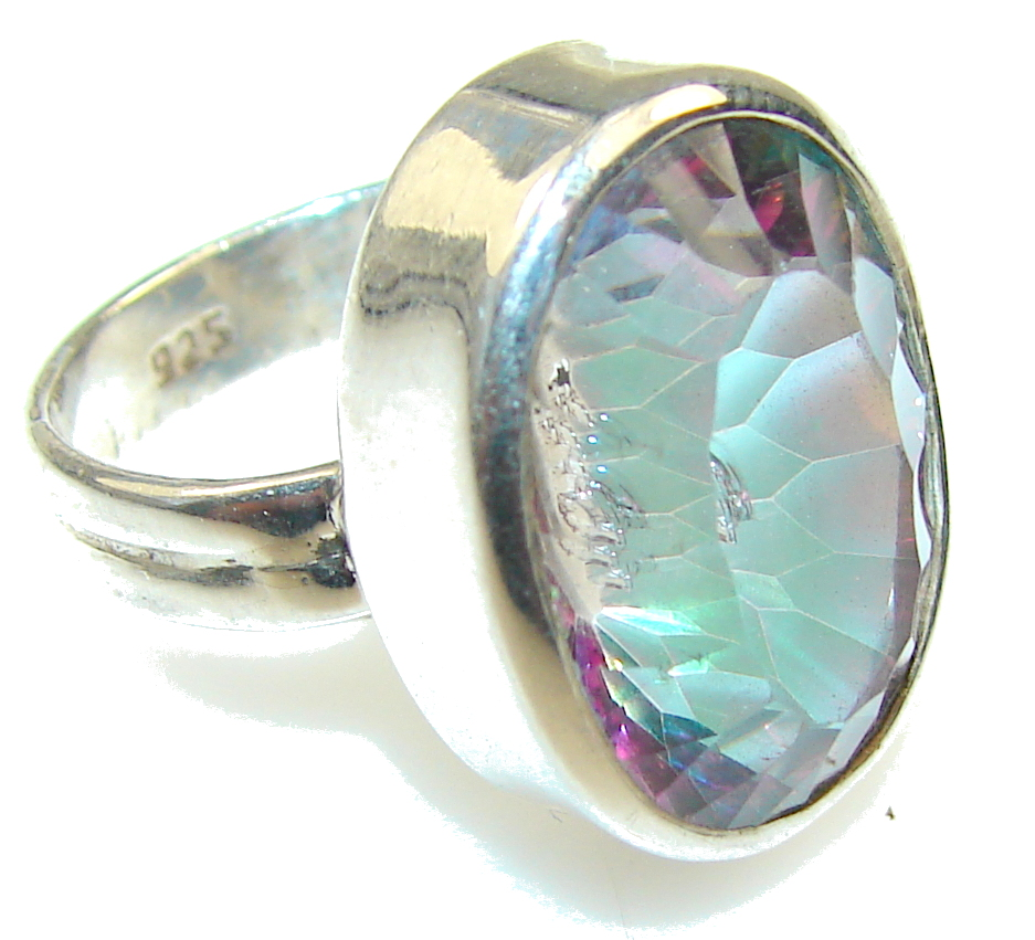 Amazing Magic Mystic Topaz Sterling Silver ring; s. 7