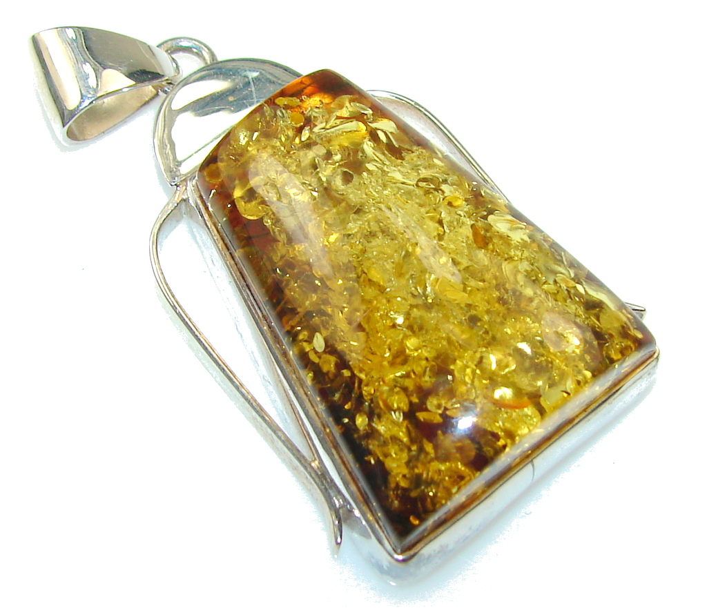 Beautiful Polish Amber Sterling Silver Pendant