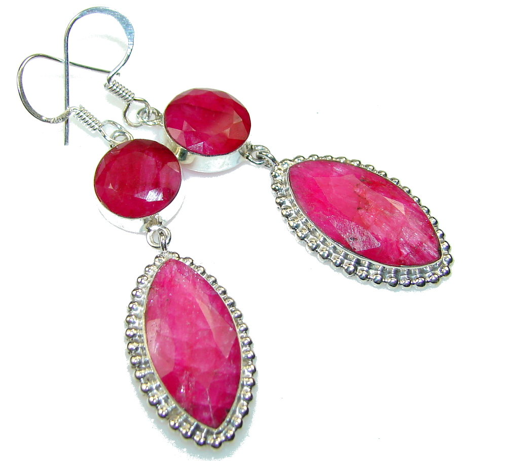 Beautiful Pink Ruby Sterling Silver earrings