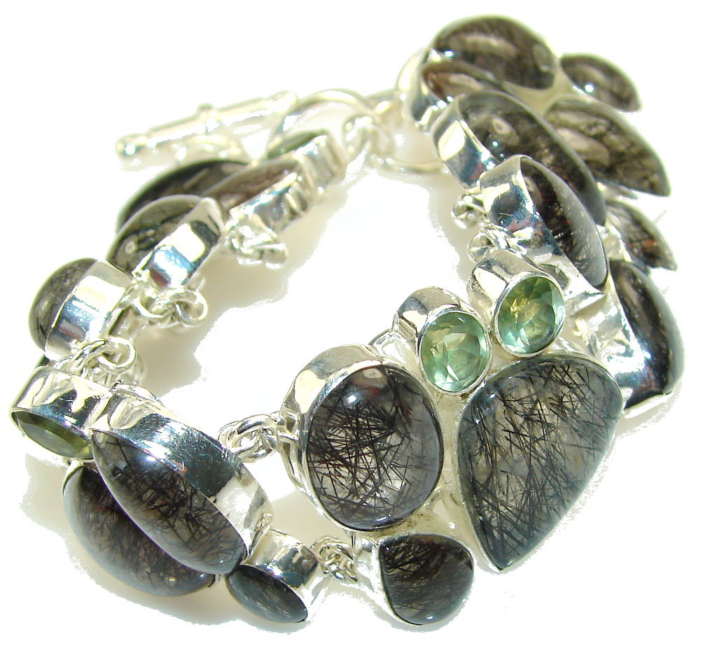 Awesome Black Tourmalinated Quartz Sterling Silver Bracelet