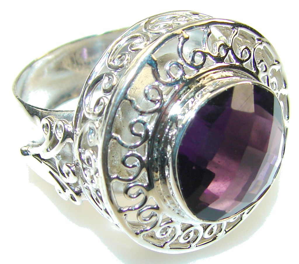 Image of Paradise Bloom!! Purple Amethyst Sterling Silver ring s. 13