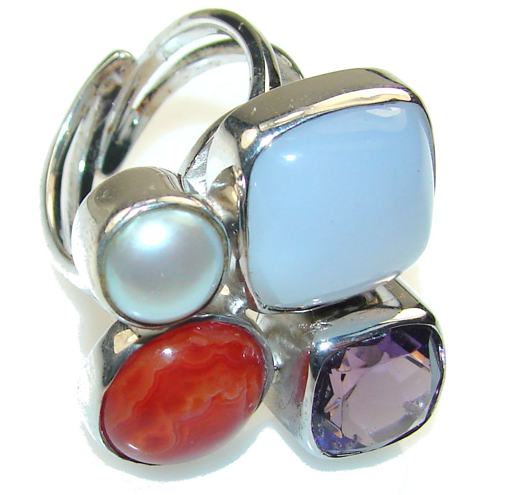New! Blue Cat's Eye Aquamarine Sterling Silver Ring s. 8 - Adjustable