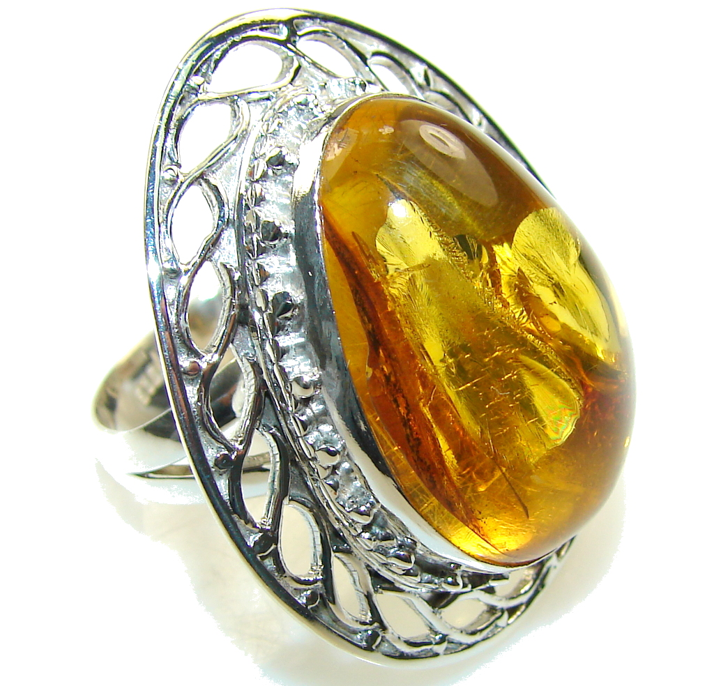 Beautiful Brown Amber Sterling Silver Ring s. 11