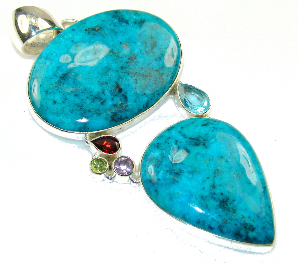 Big Blue Whisper!! Blue Chrysocolla Sterling Silver pendant