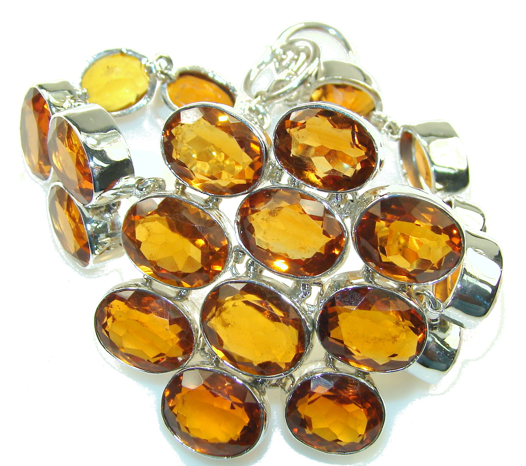 Trade Secret!!! Honey Topaz Quartz Sterling Silver Bracelet