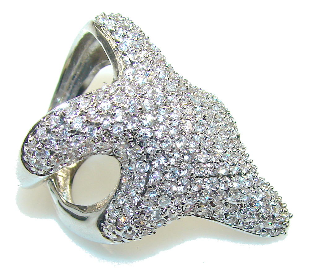 Big! Beautiful Design!! White Topaz Sterling Silver ring s. 7 1/2