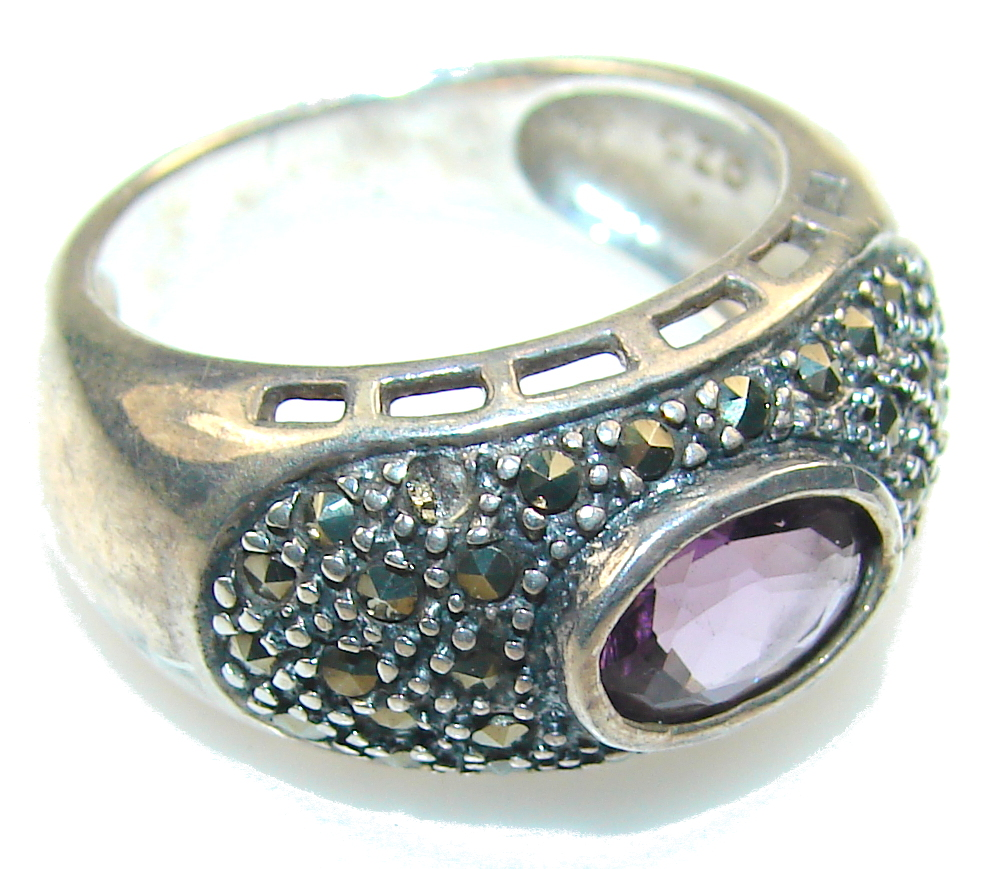 marcassite.com Delicate Purple Amethyst Sterling Silver ring s. 7