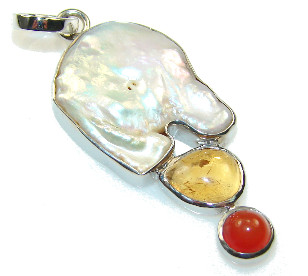 Classy Mother Of Pearl Sterling Silver Pendant