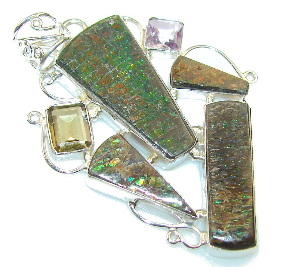Amazing Multicolor Ammolite Sterling Silver Pendant