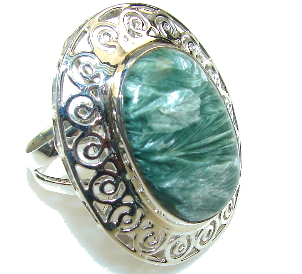Big!! Fabulous Green Seraphinite Sterling Silver Ring s. 11
