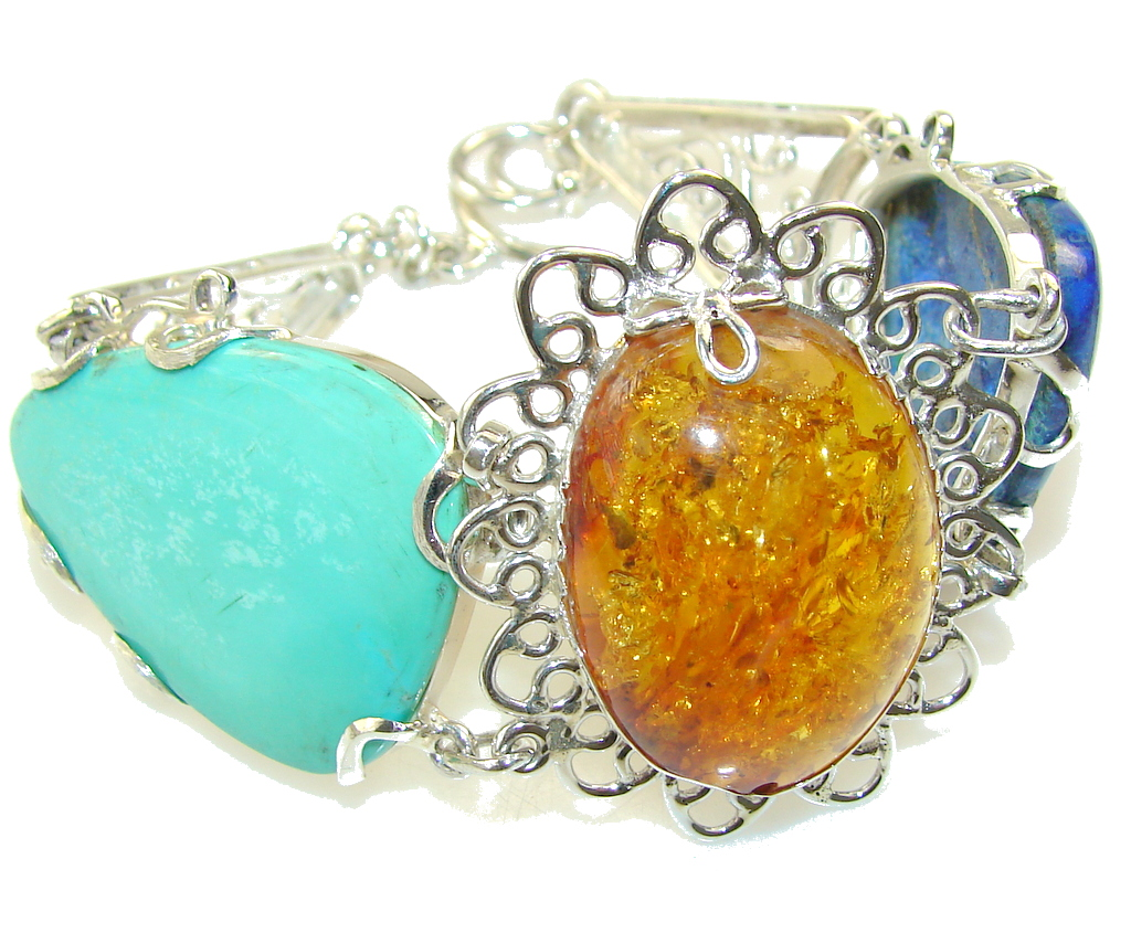 New Design!! Brown Polish Amber Sterling Silver Bracelet