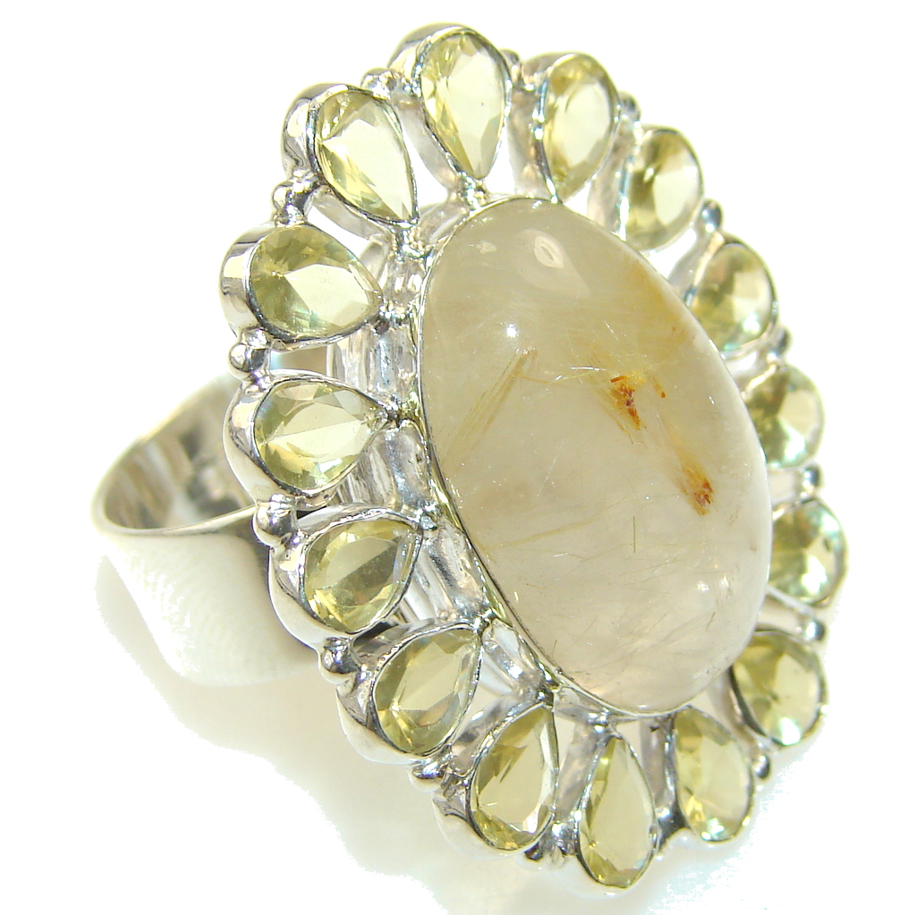 Amazing Golden Rutilated Quartz Sterling Silver Ring s. 10