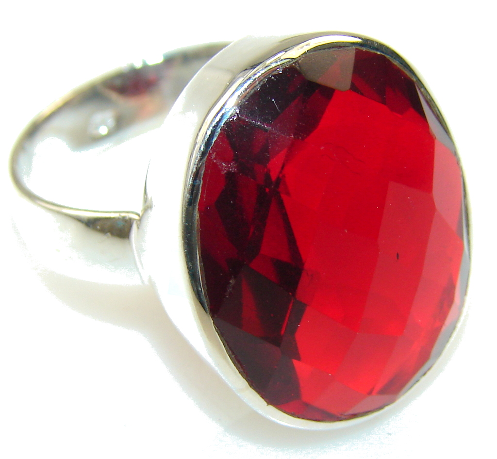 Sweet!! Created Red Garnet Sterling Silver ring
