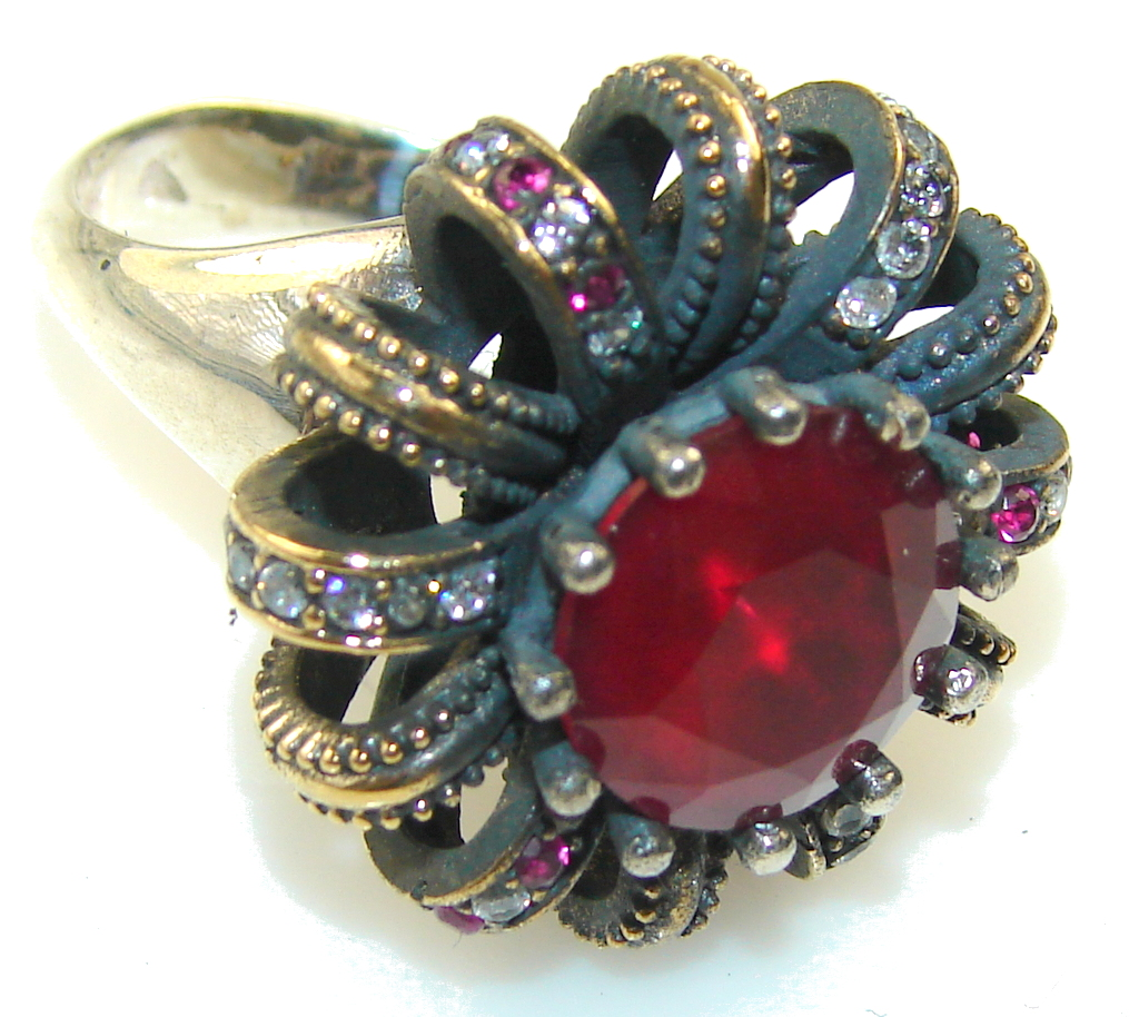 Vintage Style Crazy Energy Of Ruby Sterling Silver Ring s. 8