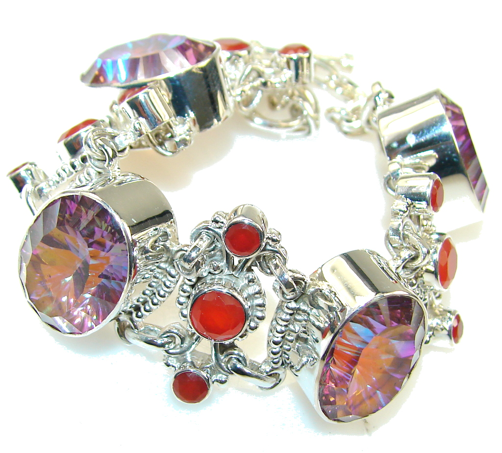Beautiful Genuine Mystic Topaz Sterling Silver Bracelet