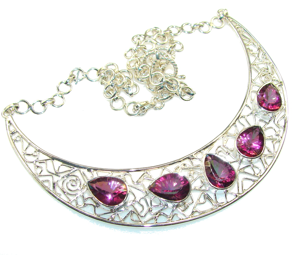 Fabulous Design Of Purple Mystic Topaz Sterling Silver necklace