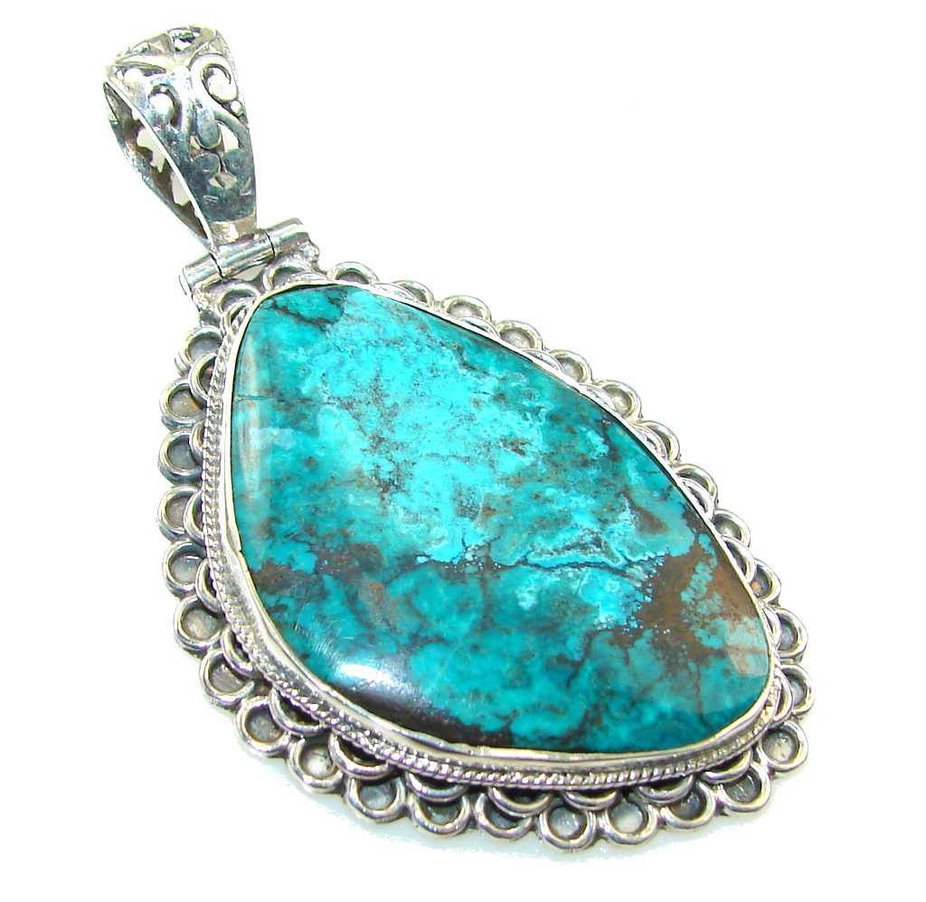 Secret Blue Chrysocolla Sterling Silver pendant