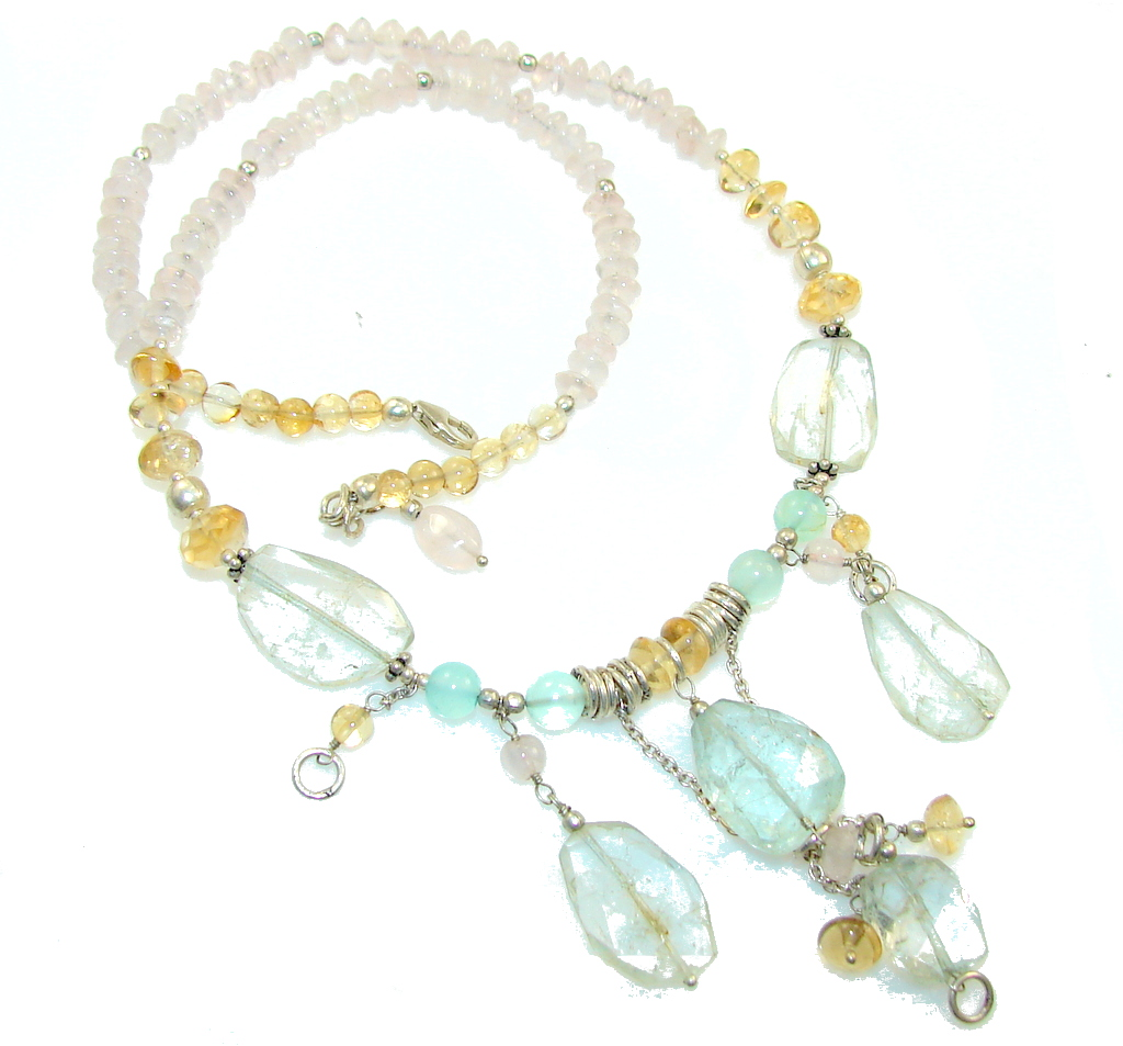 Delicate Design!! Light Aquamarine Sterling Silver necklace