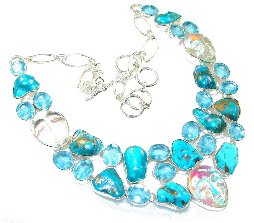 New Design!! Cooper Turquoise Sterling Silver necklace