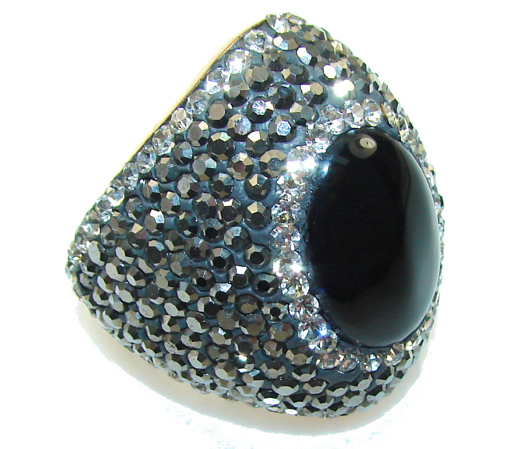 Big Dreamer!! Turkish Black Onyx Sterling Silver Ring s. 8