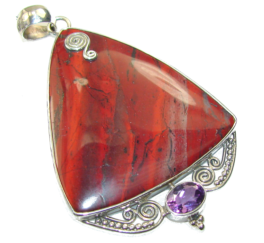 Amazing Design Of Red Jasper Sterling Silver Pendant