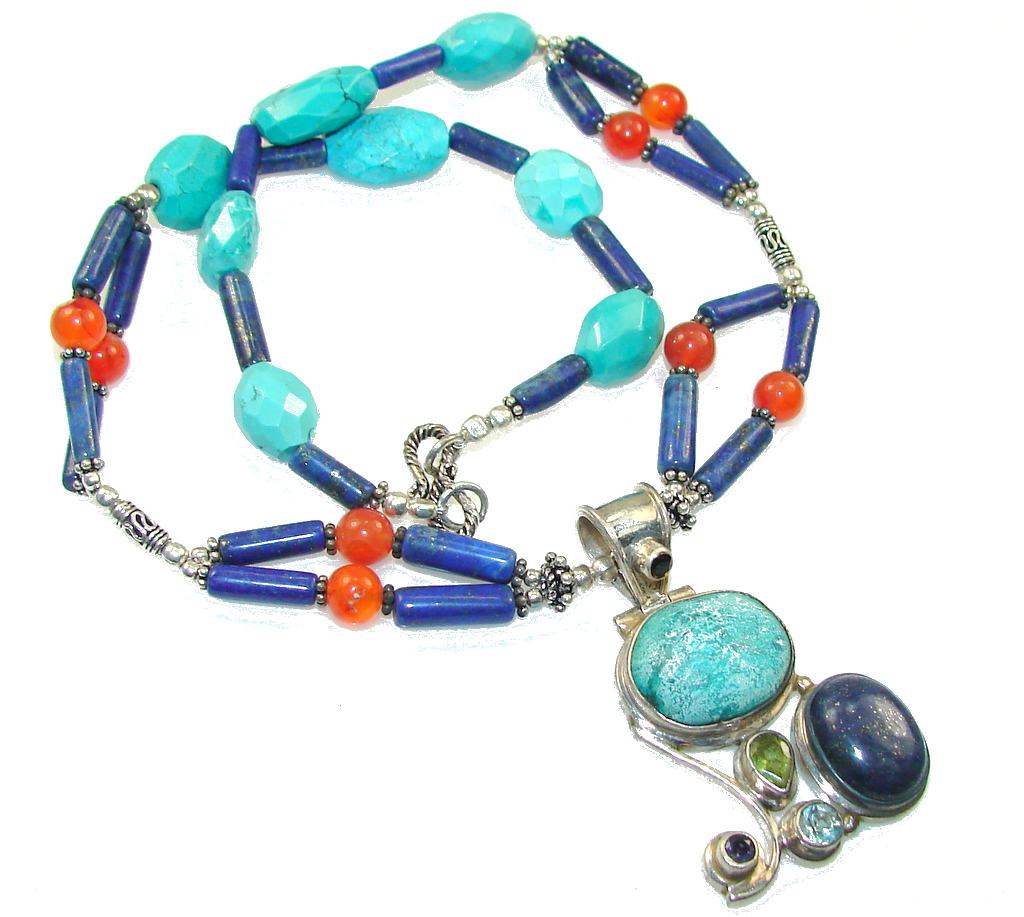 Vintage Style!! Blue Turquoise Sterling Silver necklace