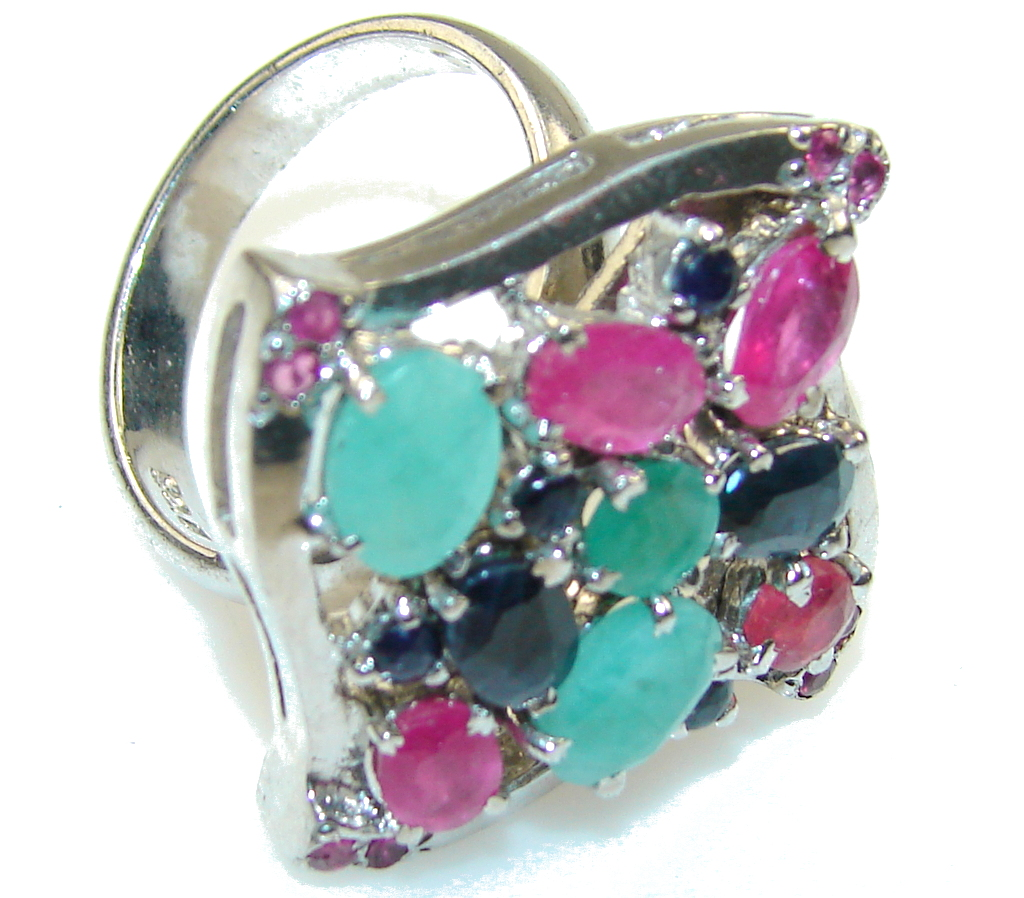 Gorgeous Design!! Pink Ruby Sterling Silver Ring s. 8