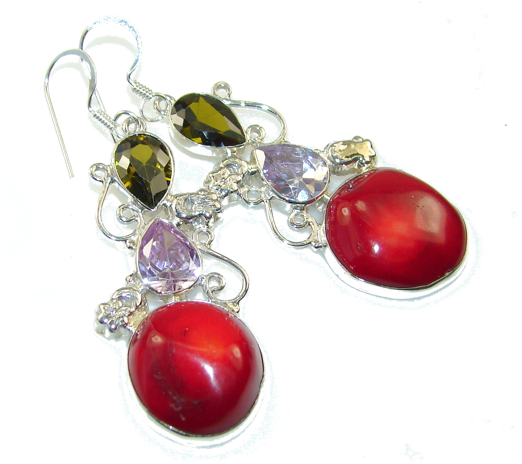 Precious Red Fossilized Coral Sterling Silver earrings
