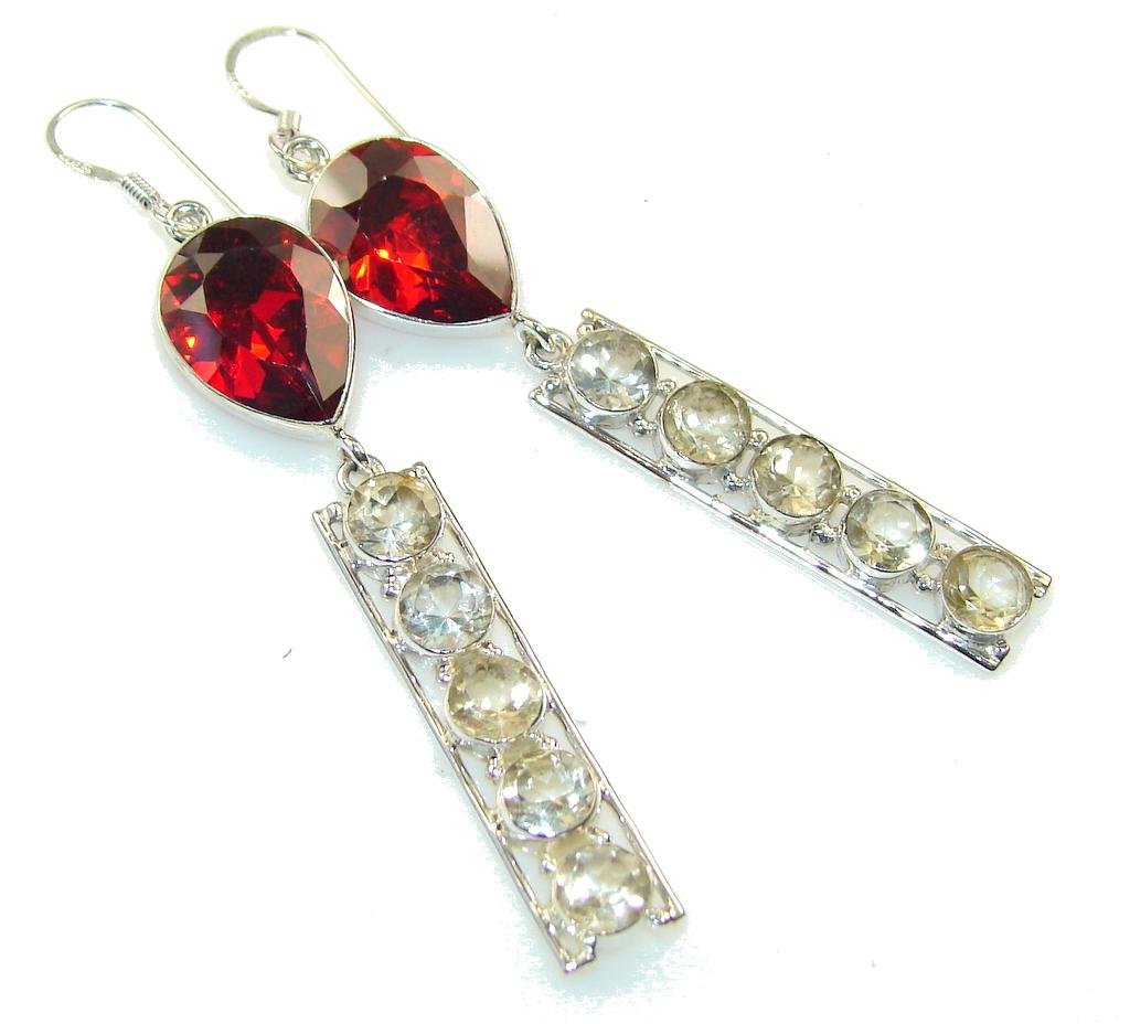 Amazing Created Red Garnet Sterling Silver earrings / Long