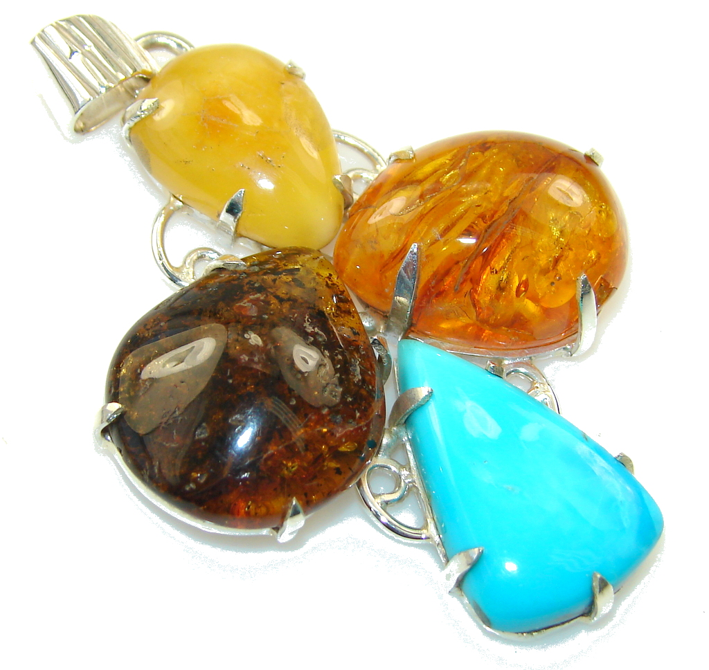 Gorgeous Design!! Polish Amber & Turquoise Sterling Silver Pendant