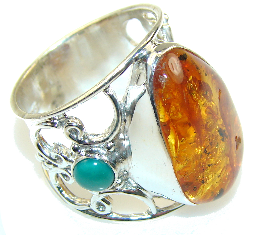 Awesome Polish Amber & Turquoise Sterling Silver Ring s. 9 1/4