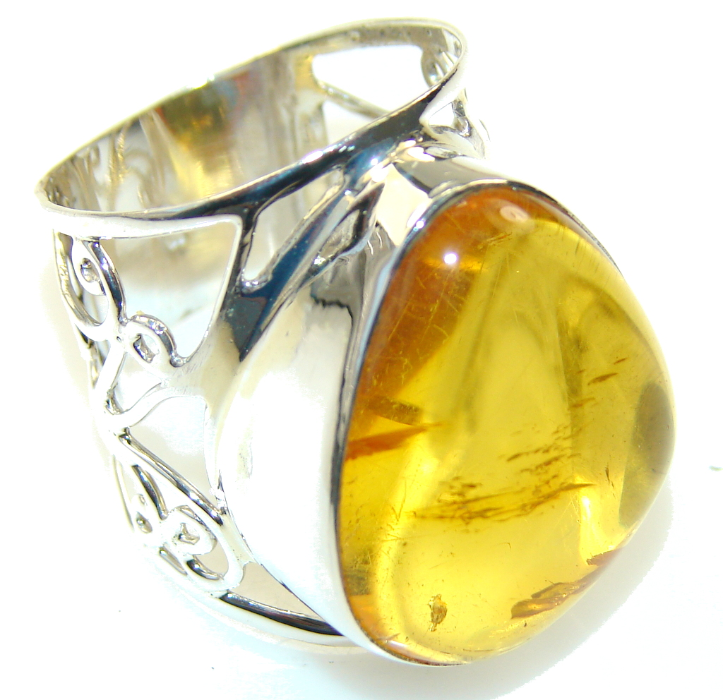 Natural Light Brown Polish Amber Sterling Silver Ring s. 12