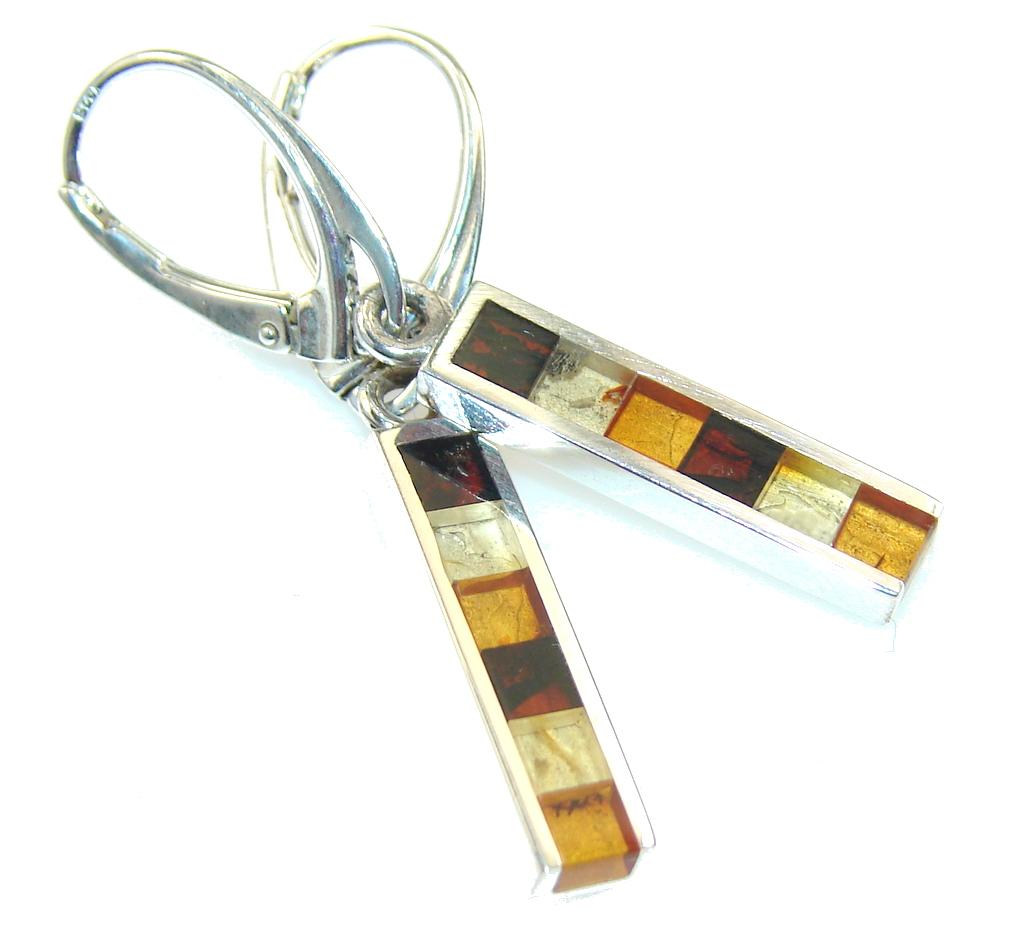 Secret Design!! Polish Amber Sterling Silver earrings