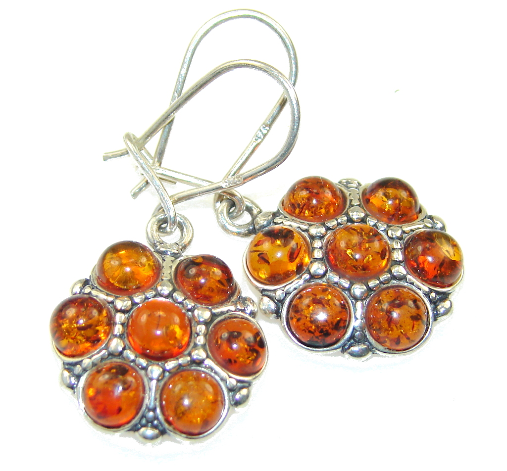 Amazing Polish Amber Sterling Silver earrings