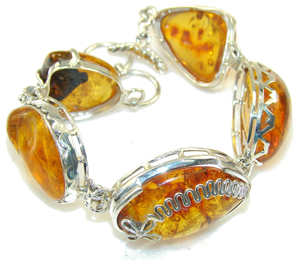 Beautiful Design!! Light Brown Amber Sterling Silver Bracelet