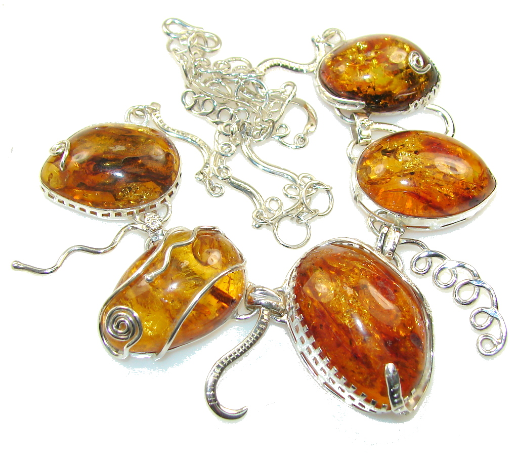 Beautiful Design!! Fabulous Polish Amber Sterling Silver necklace