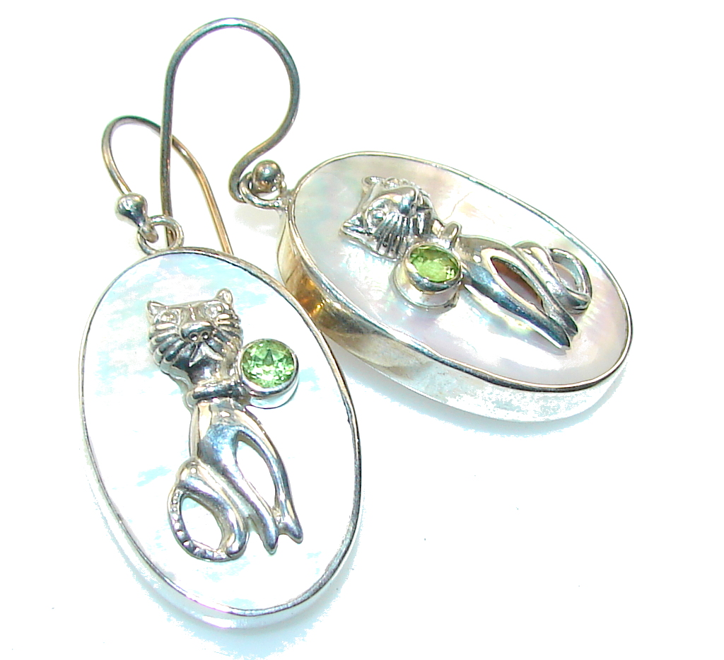 Delicate Green Peridot & Blister Pearl Sterling Silver earrings