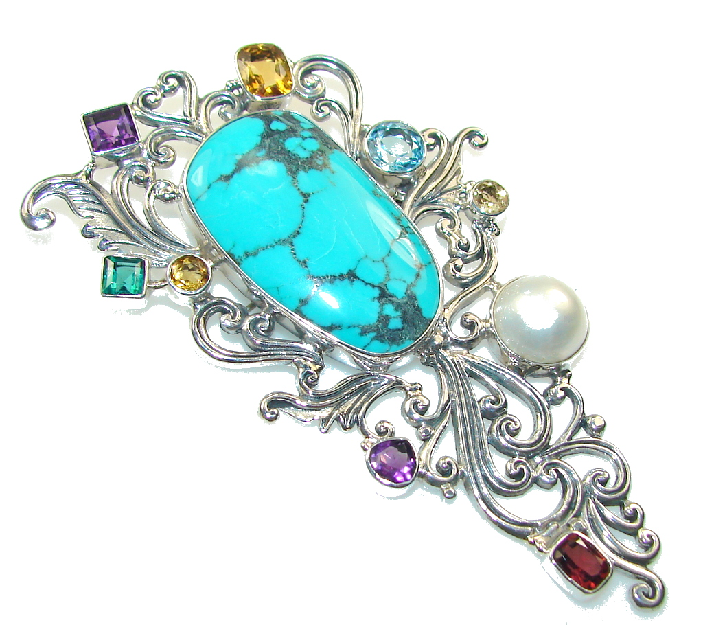 Huge!! Classy Blue Turquoise Sterling Silver Pendant / Brooch