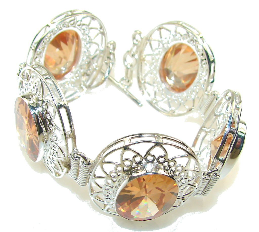 Rich Design!! Golden Topaz Quartz Sterling Silver Bracelet