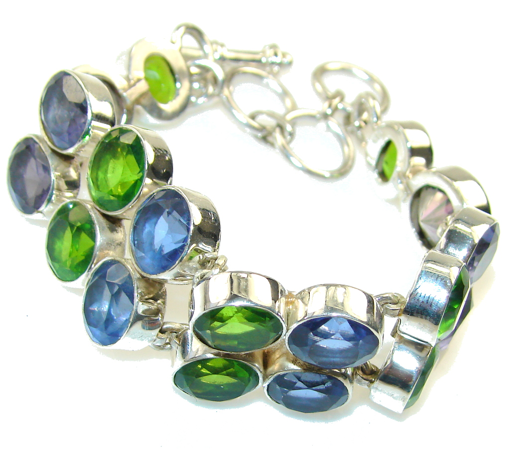Excellent Multicolor Quartz Sterling Silver Bracelet