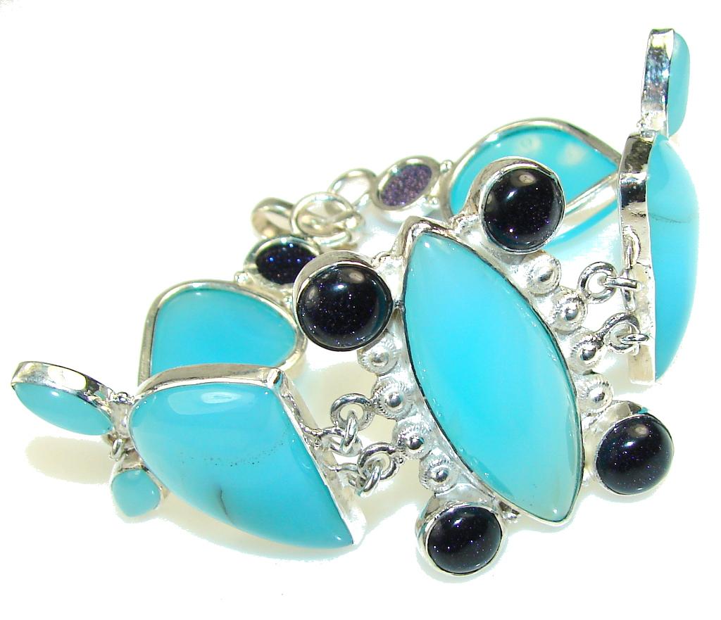 Fantastic Blue Agate Sterling Silver Bracelet