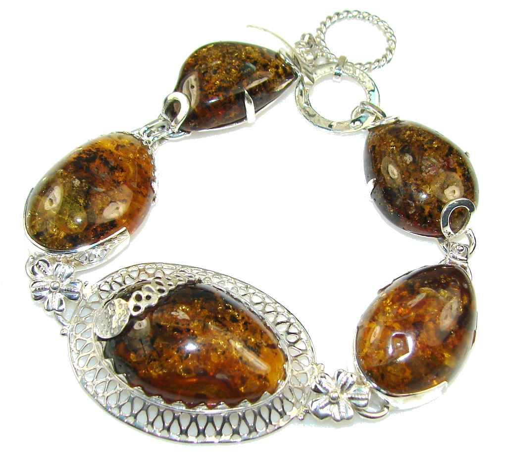 Gorgeous Design!!! Polish Amber Sterling Silver Bracelet
