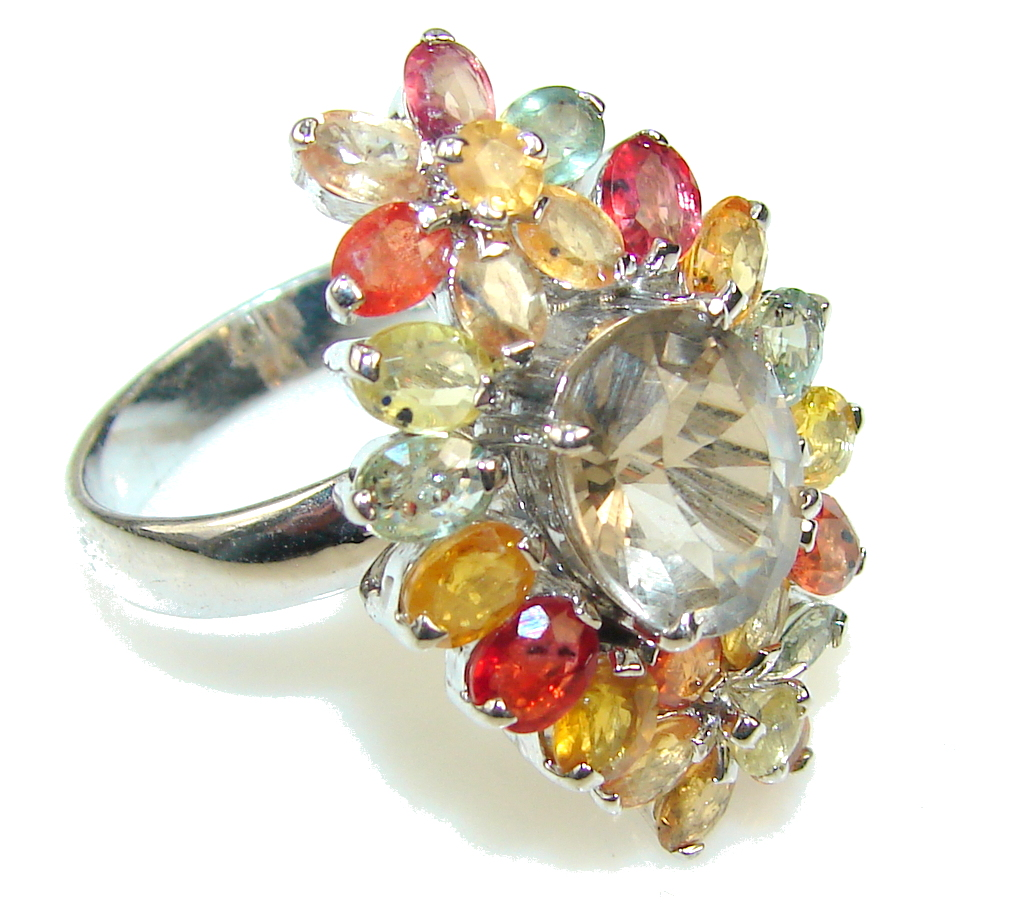 Empress!! Multicolor Sapphire Sterling Silver Ring s. 9