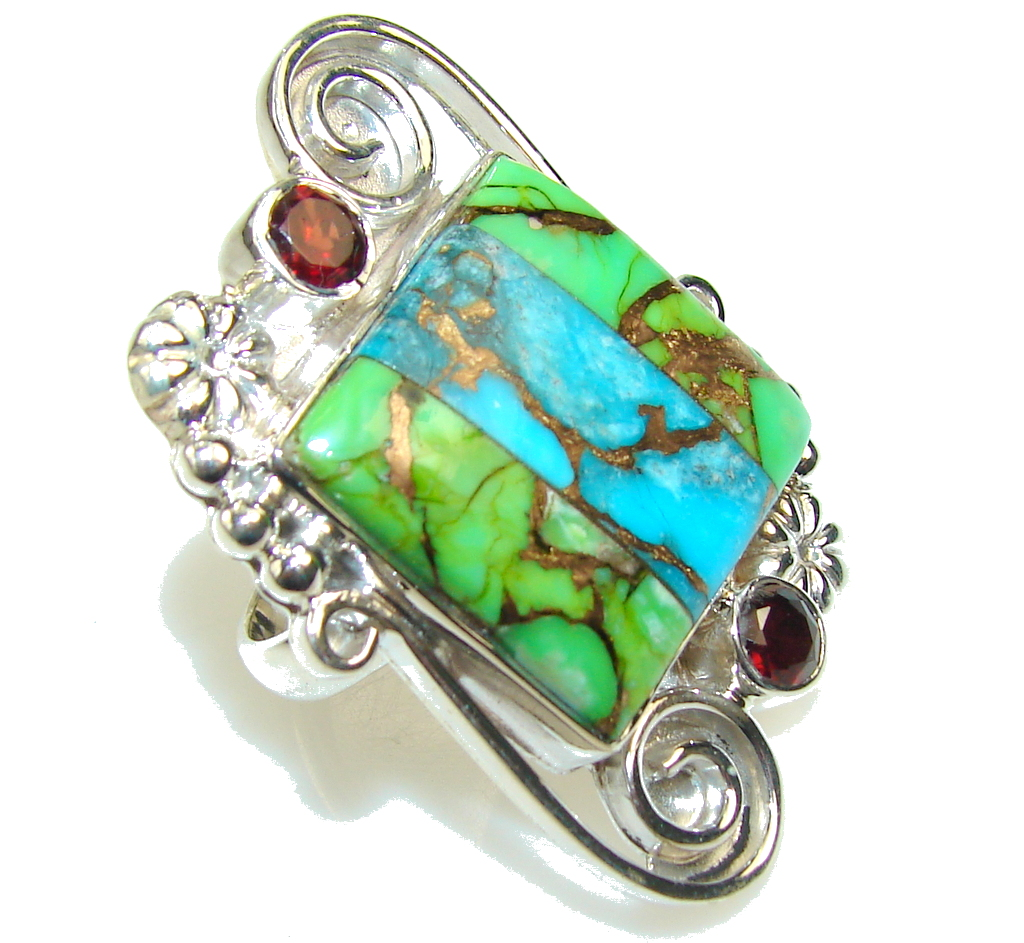 Blue & Green Copper Turquoise Sterling Silver Ring s. 8 1/2